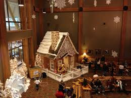 family dining inside the great wolf lodge gingerbread house dad