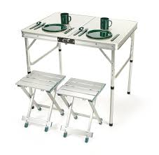 lightweight folding table and chairs amazon com aluminum lightweight folding c table with stools by