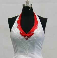 red and white halter top wedding dress