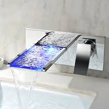 Bathroom Waterfall Faucet by Modern Led Wall Mounted Waterfall Bathroom Faucet Tap In Chrome 3
