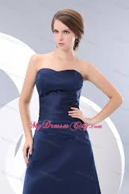 navy blue strapless ruched slinky bridesmaid dress floor length