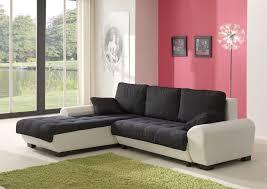 canapé d angle noir et blanc pas cher canapé d angle contemporain convertible en tissu coloris noir blanc