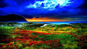 mounts orange clouds view seashore beach beauty red hill