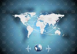 Free Vector World Map by Airplane Traffic Background With World Map Vector Image 50635