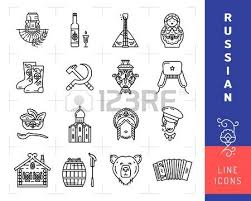 russian culture black thin line icons russian traditional symbols