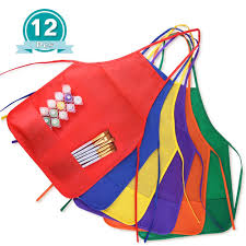 amazon com kuuqa 12 pack 6 color kids aprons children painting