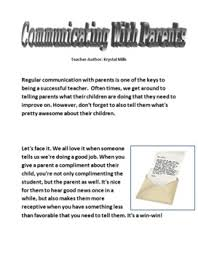 communication with parents sample letter to parents good news etc