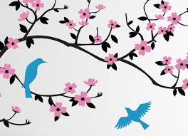 cherry blossom tree wall decal simplified bee