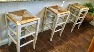 furniture white wooden pottery barn stools with brown seat for
