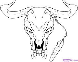 how to draw a longhorn head skull step by step skulls pop