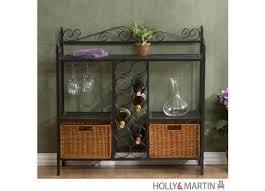 Metal Bakers Rack With Wine Storage Holly U0026 Martin Petaluma Baker U0027s Rack With Wine Storage 59 195 006 5 16