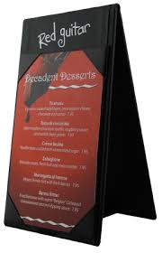 restaurant table top display stands a frame with logo on header looking to display your new food and