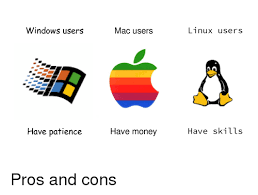 Windows Vs Mac Meme - windows users have patience mac users have money linux users have