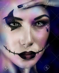 Make Up For Halloween Closeup Portrait Of Woman With Makeup For Halloween Party Over