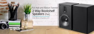 Refurbished Bookshelf Speakers Mp 65rt 6 5in And Ribbon Tweeter 2 Way Bookshelf Speakers Pair