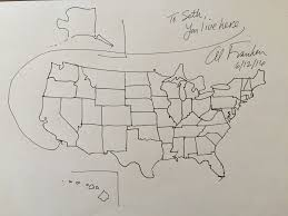 Us Map Of The United States by Senator Al Franken Drew A Free Hand Map Of The United States For