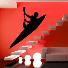modern style living room stair wall decor sticker kayak wall decal