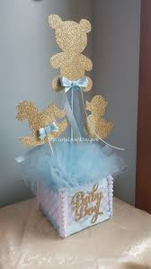 baby shower centerpieces for a boy boy baby shower centerpiece gold and baby blue baby shower
