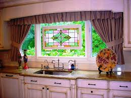 curtain ideas for kitchen white tile wall backsplah brown wooden
