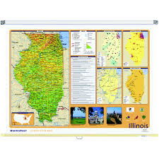 Iowa State Map Illinois Physical Political State Wall Map Rand Mcnally Store