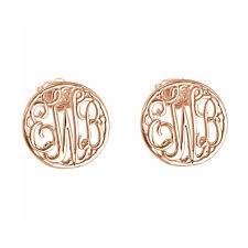 Gold Monogram Earrings 14k Rose Gold Plated Silver Monogram Earrings Monograms