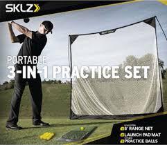 sklz golf practice set hitting mat driving net u0026 balls
