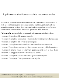 sample communications resume top8communicationsassociateresumesamples 150508031747 lva1 app6891 thumbnail 4 jpg cb 1431055110
