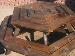 Wooden Hexagon Picnic Table Plans by Round Picnic Tables Wood Getting Sturdy Round Picnic Table For