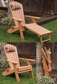 chair with built in ottoman folding reclining poly fanback adirondack chair w pull out