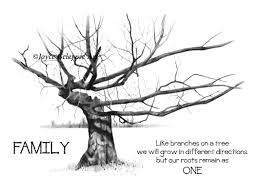 print gnarled tree pencil drawing with quote about family