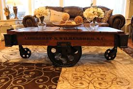 railroad cart coffee table vintage restored lineberry factory cart coffee table