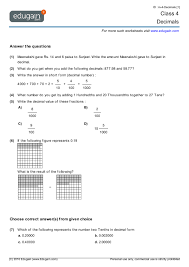 class 4 math worksheets and problems decimals edugain india