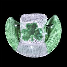 irish st patrick u0027s day light up led sequin cowboy hat
