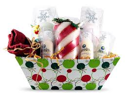 christmas gift basket for woman body lotions and candle gift