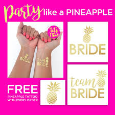 Tropical Themed Tattoos - pineapple tropical themed bachelorette party gold temporary