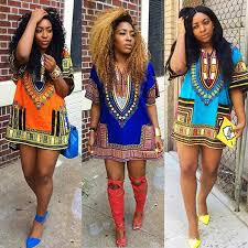 women african dashiki print dress cocktail party wear casual tops