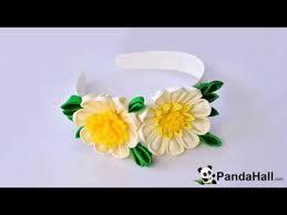 yellow headband pandahall tutorial how to make a yellow ribbon flower headband for
