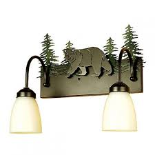 Cabin Vanity Lights Bear And Trees Vanity Light Cabin Place