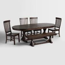 rustic brown oval wood brooklynn extension dining table world market