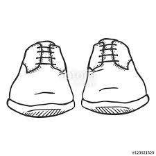 vector sketch illustration pair of classic men shoes front view