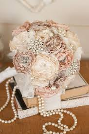 vintage wedding vintage inspired fabric wedding bouquet satin and lace and brooch