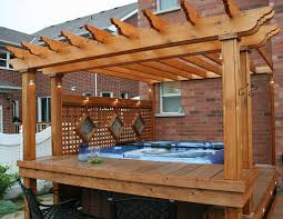 Deck With Pergola by Tub With Deck Pergola Backyard Dreams Pinterest Deck