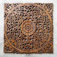 rustic antique wood carving wall hanging siam sawadee