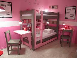 Kids Bunk Beds With Desk Cute Bunk Bed Idea For Teenage Girls With Pink Wall Paint Color