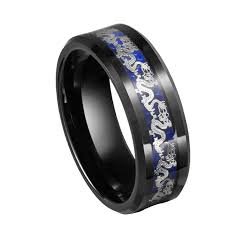 black and blue wedding rings queenwish 8mm tungsten rings silver black band and blue