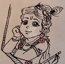 traditional sketch cute and sweet lil krsna by nairarun15 on