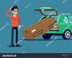 box car clipart confused man failed load large box stock vector 743036971