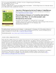 journal of biologically active products from nature phytochemical