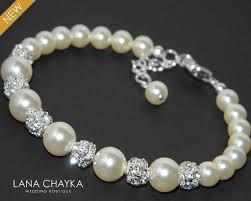 pearl bracelet swarovski images Pearl bridal bracelet swarovski ivory pearl silver wedding jpg