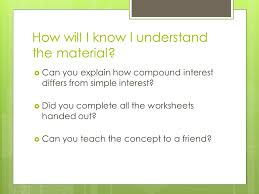compound interest finance unit learning goals compare simple